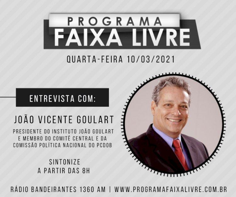 Ouça entrevista de João Vicente Goulart, no programa Faixa Livre.